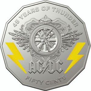 2018 50 Cents AC/DC Coin - 45 years of thunder