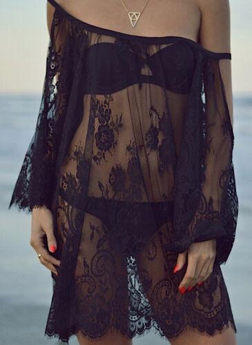 Vestito Mini Copricostume Trasparente Donna Pizzo Woman Mini Dress COV0062 P