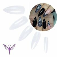 Ejiubas Clear Long Stiletto Nails Full Cover False Nail Tips - Pack Of 500 Pc...