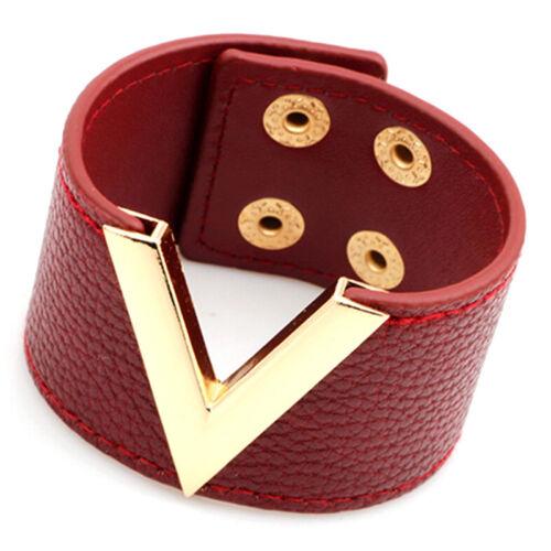 Gros bracelet en cuir punk rock marron gros bracelet en cuir bijoux manchette hq