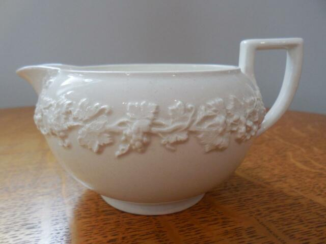 Wedgwood Embossed Queensware cream on cream smooth edge bute shape creamer