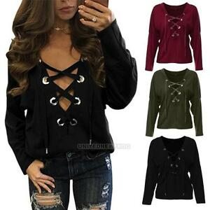 Fashion-Women-039-s-Sexy-Plunge-V-neck-Loose-Lace-Up-Long-Sleeve-Tops-Blouse-T-Shirt