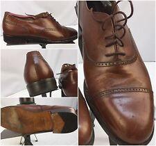 G.H. Bass Dress Shoes Sz 8 D Brown Oxford Cap Toe Italy EUC YGI L6-46
