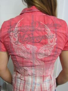 carreaux à chemisier Nouveau Harley davidson rose 96174 Rouge S Gr Biker 14vw tqgwZwE