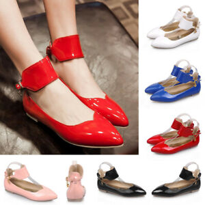 Womens-Classic-Ankle-Strap-Ballet-Flats-Pointed-Toe-Office-Dress-Shoes-Ballerina