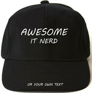 Cap Nerd It Baseball Black Gift Hat blue Xmas green red Awesome Personalised WRITSnRq