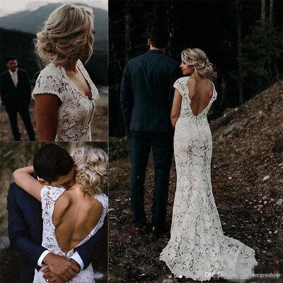 Lace Boho Low Back Wedding Dress Vintage V Neck Country Beach Bridal Gown White Ebay