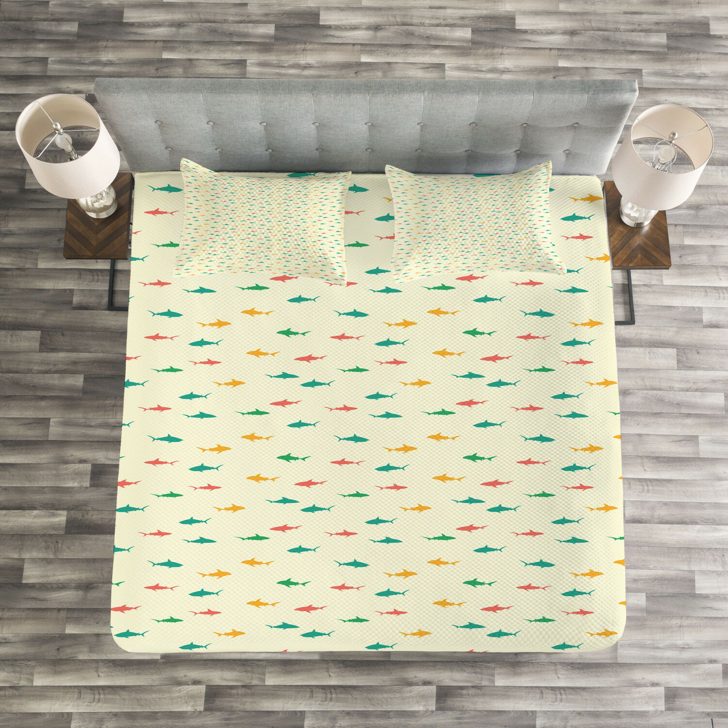 Shark Quilted Bedspread & Pillow Shams Set, Kids colorful Wildlife Print