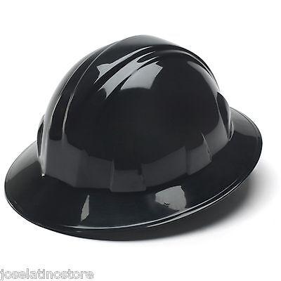 """Pyramex HP24111 4 Point """"BLACK"""" Full Brim Safety Hard Hat Ratchet Suspension"""