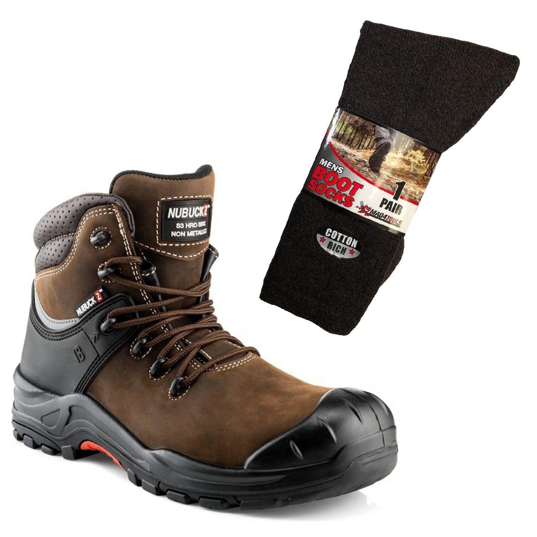 Buckler NKZ102BR nubuckz botas Distribuidor No Metálicos Marrón y 1 pares de calcetines