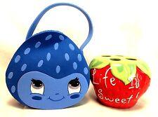 Strawberry Shortcake Handmade Blue Berrykin Tote Bag Purse Toothbrush Holder Set
