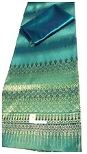 !Beautiful Silk Fabric  synthetic Thai Tradition for wedding dress 2pcs Teal  #