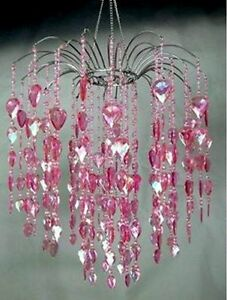 Large pink acrylic faceted crystal prism gem waterfall chandelier ebay image is loading large pink acrylic faceted crystal prism gem waterfall aloadofball Gallery
