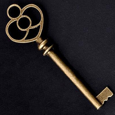 Skeleton Keys Heart Antiqued Brass 61mm Steampunk Lot of 5