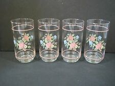 Pfaltzgraff Tea Rose Pattern 16 OZ glasses cooler tumblers