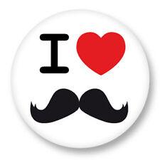 "Pin Button Badge Ø25mm 1"" I Love Moustache Mustache Hispter"