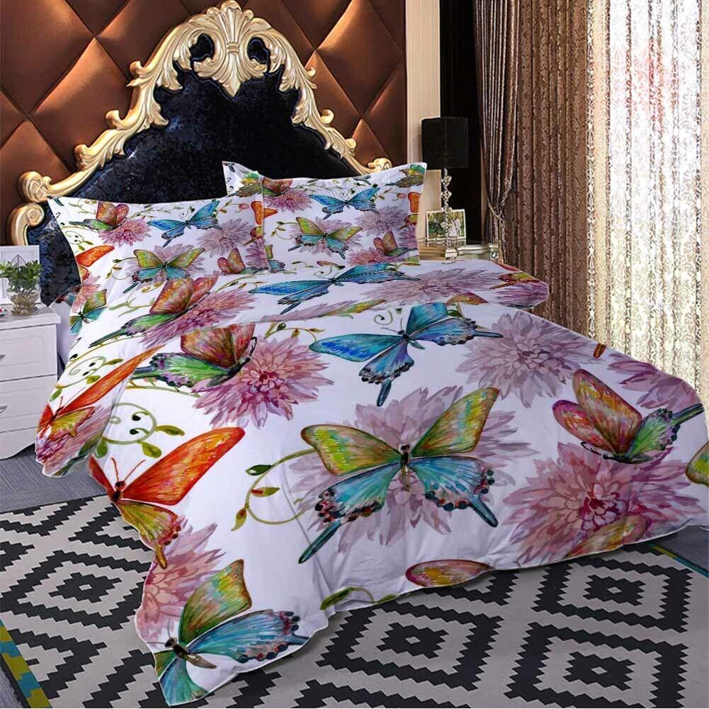 Half Big Butterfly 3D Printing Duvet Quilt Doona Covers Pillow Case Bedding Sets