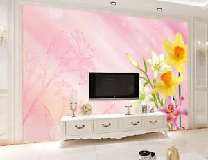 3D  Pink Pretty Lily 8 Wall Paper Murals Wall Print Wall Wallpaper Mural AU Kyra