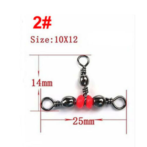 20Pcs 3 Way Brass Fishing Rolling Barrel Swivel Bearing Connector Solid Ring New