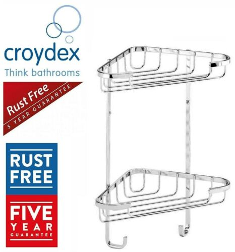 Croydex Double Chrome Plated 2 Tier Corner Basket Shower Caddy 100% Rust Free