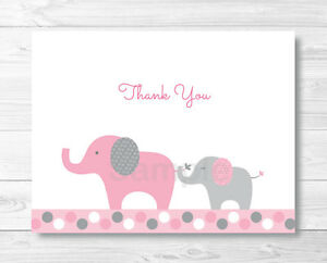 pink gray polka dot elephant thank you card printable ebay