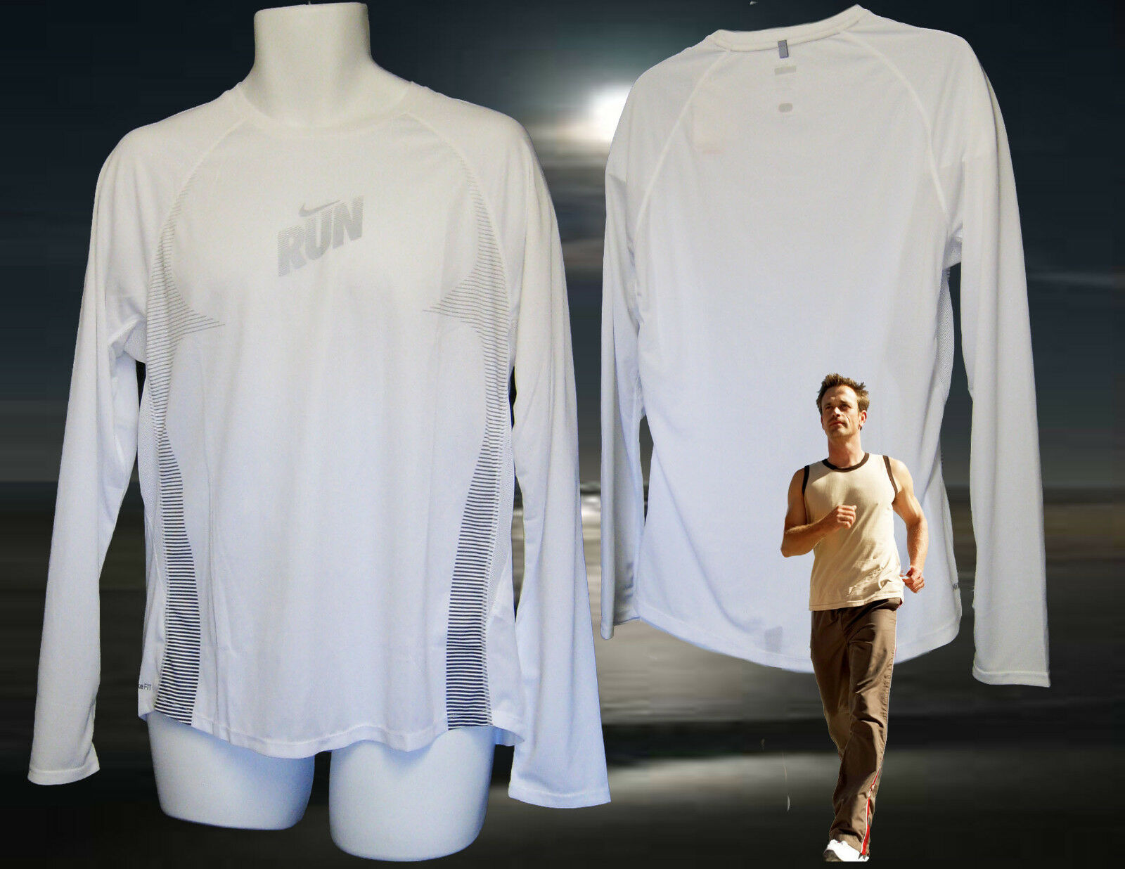 NEW NIKE + Super Lightweight Reflective Ventilated  Running Shirt White XL  new exclusive high-end