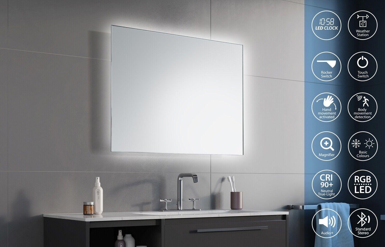 Badspiegel LED Beleuchtung LED-Uhr Blautooth Makeup Kosmetikspiegel