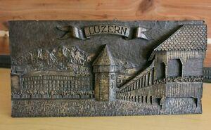 Vintage-3D-Carved-Art-Plaque-of-Lucerne-Luzern-Switzerland-by-Ernst-Haller