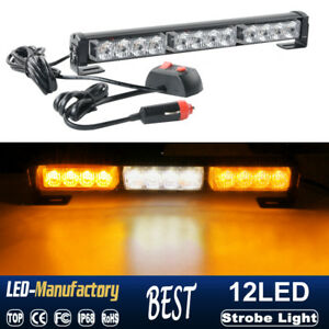 "14/"" Amber LED Traffic Advisor Emergency Warn Strobe Flash Light Bar Universal 5"