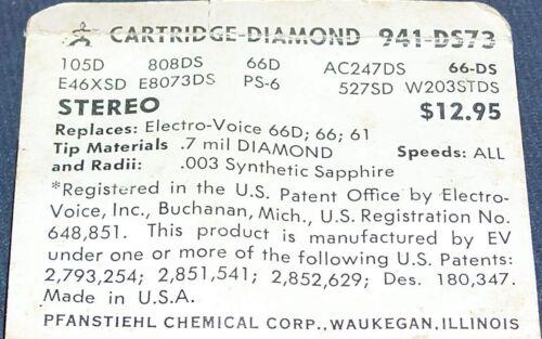 941-DS73 PHONOGRAPH NEEDLE CARTRIDGE STYLUS Electro-Voice EV 66D 66 61 61D