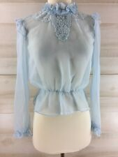 New listing Vintage 70s sheer blue ruffled Edwardian lace hippie boho top shirt blouse Xs S