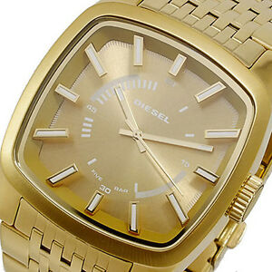 nwt diesel men 039 s watch all yellow gold ss bracelet square image is loading nwt diesel men 039 s watch all yellow
