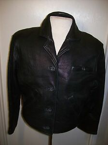 George-Town-Leather-Design-Black-Leather-Jacket-Womens-sz-Small-Full-liner