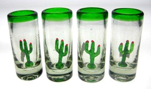Mexican tequila SHOT Glasses, Hand blown Saguaro cactus (4)