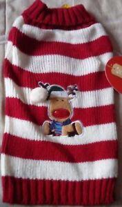 * Vente * Neuf/Étiquettes Chien Chiot Animal Renne De Noël à Rayures Pull Petit 28 Cm-afficher Le Titre D'origine