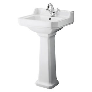 500mm Bathroom Sink : Carlton-500mm-Traditional-Bathroom-Ceramic-Square-Basin-Sink-Pedestal ...