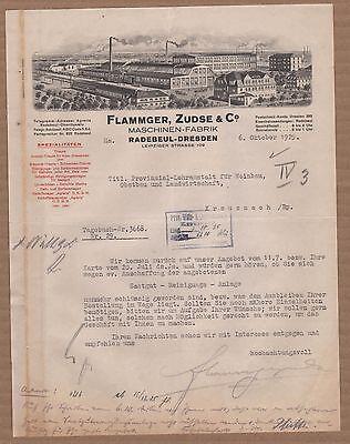 Genossenschaft Radebeul-dresden Zudse & Co Brief 1925 Kann Wiederholt Umgeformt Werden. Maschinen-fabrik Flammger