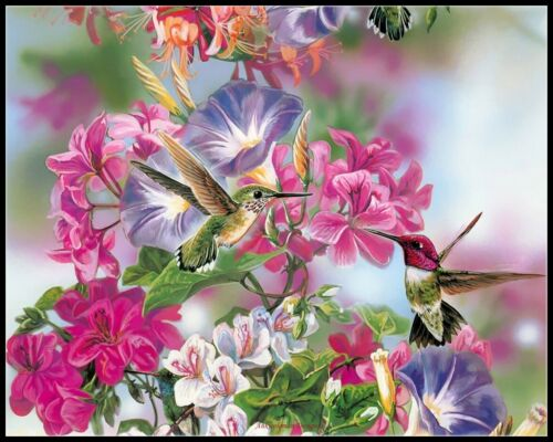 Chart Counted Cross Stitch Patterns Spring Flowers Attract Hummingbirds