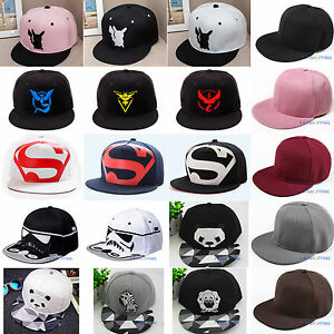 428baadc0f5 Womens Men Snapback Baseball Cap Flat Bill Visor Hip Hop Trucker ...