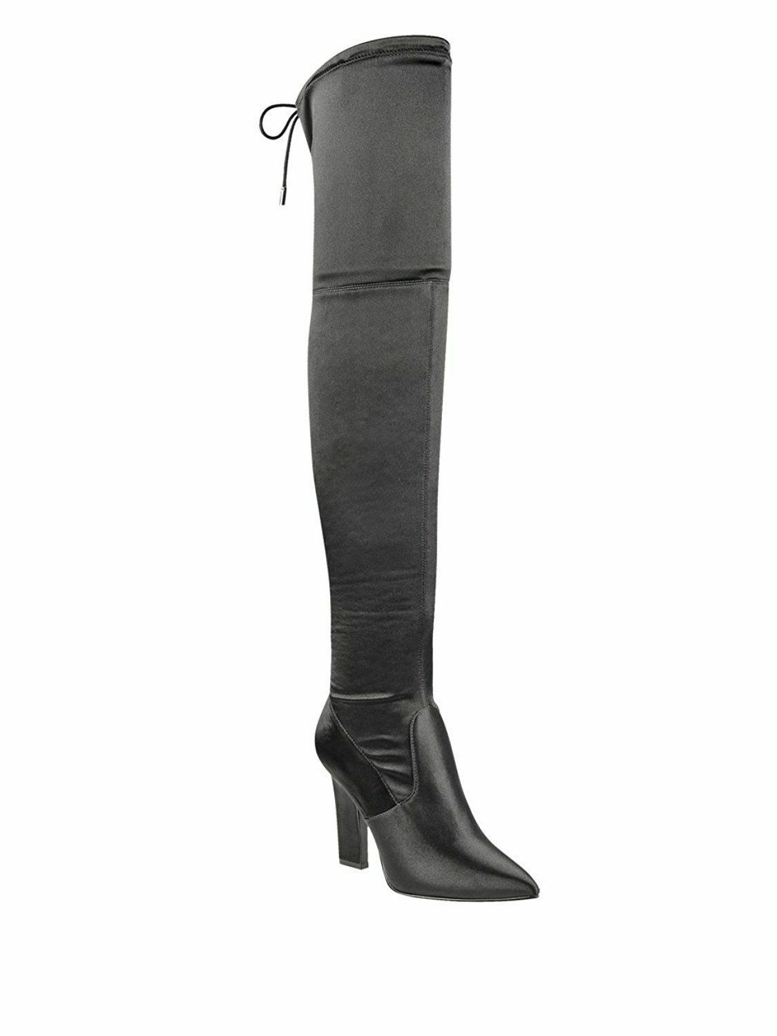 Guess Angeley 9.5 M Fabric Knee High High High Party Boots Block Heel Glamour Pointed Toe b8307f