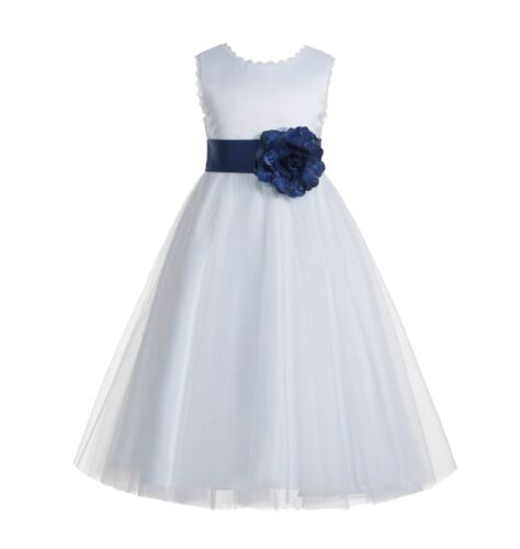 V-Back Lace Edge White Flower Girl Dress Wedding Dress Holy Communion Dresses