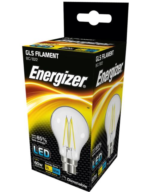 Energizer 7.2w (=60w) LED Clear GLS Filament Bulb, Extra Warm White (2700k) - BC