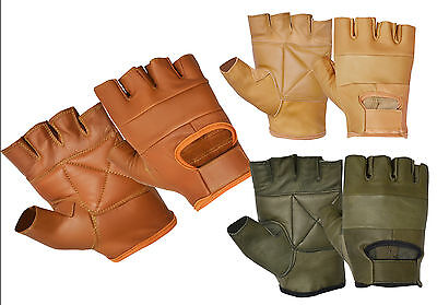 Leather Cycling Work Weight Lifting Bus Driving Fitness Half Finger Less GLOVES