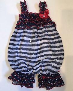 67dc4480918 Baby Girl 6 9 M PATRIOTIC Romper Red White Blue July Ruffles Frills ...