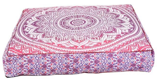 Large Ombre Mandala Box Floor PillowCases Meditation Tapestry Cushion Cover Pouf