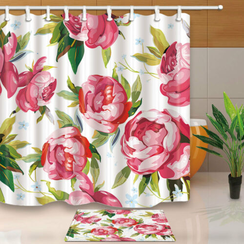 Floral Flower Peony Bathroom Fabric Shower Curtain Set With Hooks 71Inch Long