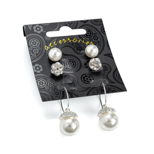 Tres Pares De Damas En Color Plata Cristal Y Perlas Efecto pendiente conjunto