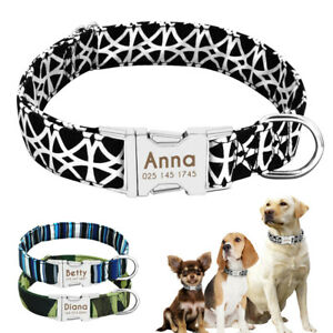 Custom-Personalised-Nylon-Dog-Collars-Name-ID-Tag-Engraved-Small-Medium-Large