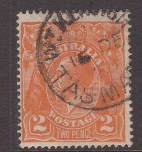 Tasmania-WEST-KENTISH-type-1-postmark-on-KGV-1920-rated-R-by-Hardinge