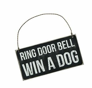 Primitives by Kathy Classic Black and White Hanging Sign 6 x 3-Inches Win A Dog